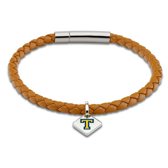 Trinity College Leather Bracelet with Sterling Silver Tag - Saddle