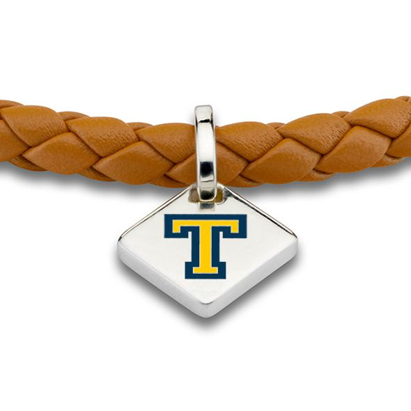 Trinity College Leather Bracelet with Sterling Silver Tag - Saddle - Image 2