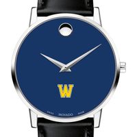 Williams College Men's Movado Museum with Blue Dial & Leather Strap