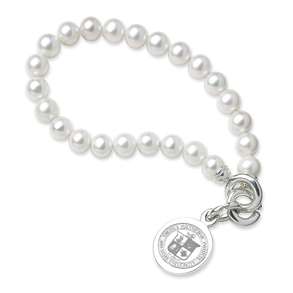 Virginia Tech Pearl Bracelet with Sterling Silver Charm