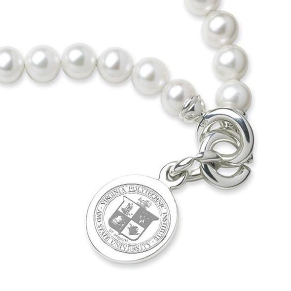 Virginia Tech Pearl Bracelet with Sterling Silver Charm - Image 2