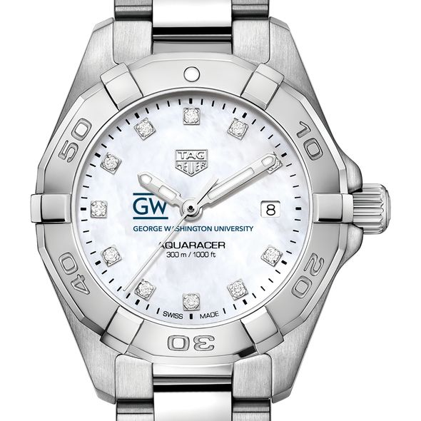 George Washington University W's TAG Heuer Steel Aquaracer w MOP Dia Dial