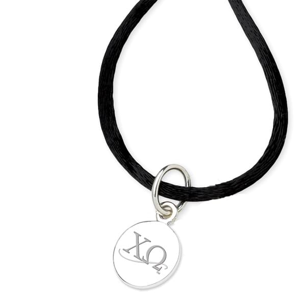 Chi Omega Satin Necklace with Sterling Silver Charm - Image 2