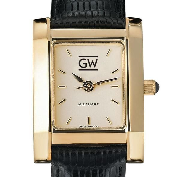 George Washington Women's Gold Quad with Leather Strap