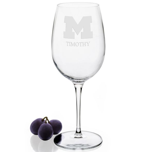 University of Michigan Red Wine Glasses - Set of 4 - Image 2