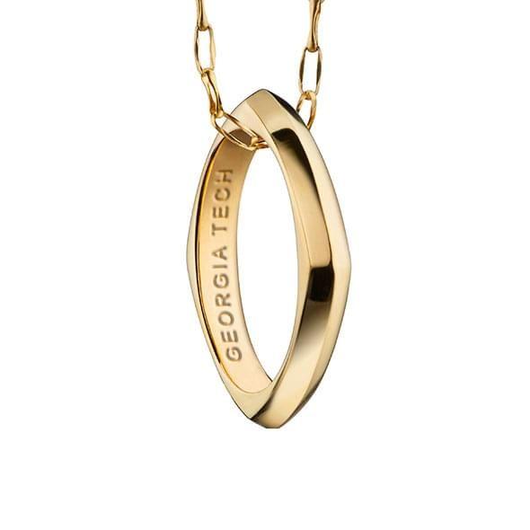 Georgia Tech Monica Rich Kosann Poesy Ring Necklace in Gold