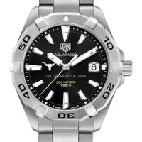 University of Texas Men's TAG Heuer Steel Aquaracer with Black Dial