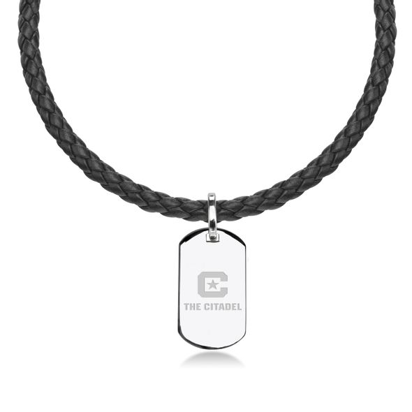 Citadel Leather Necklace with Sterling Dog Tag
