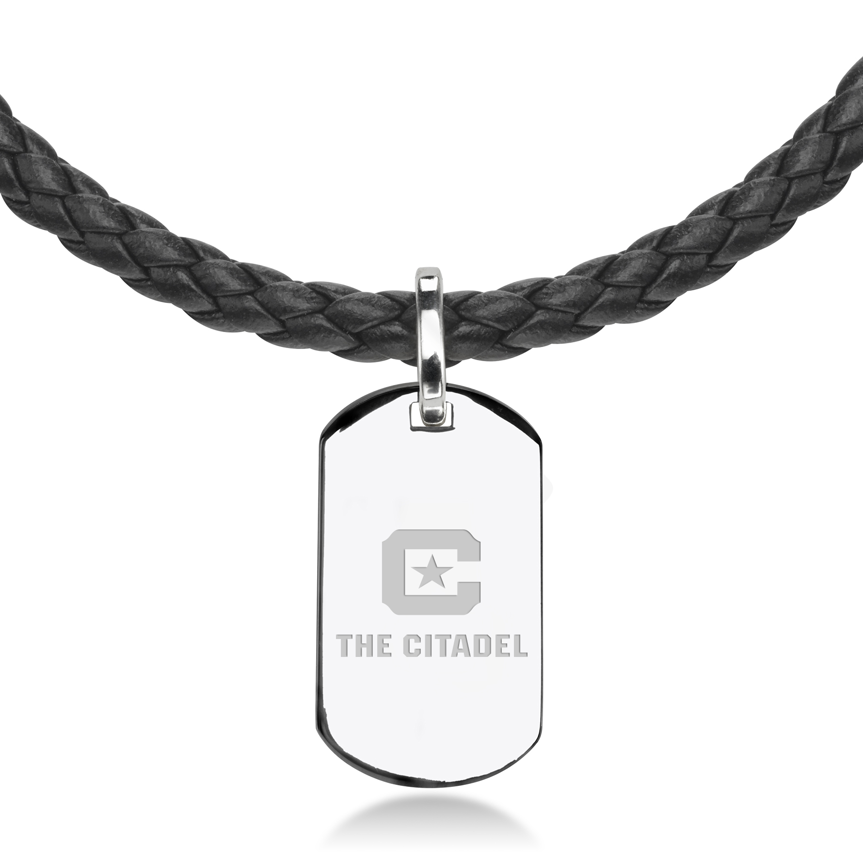 Citadel Leather Necklace with Sterling Dog Tag - Image 2