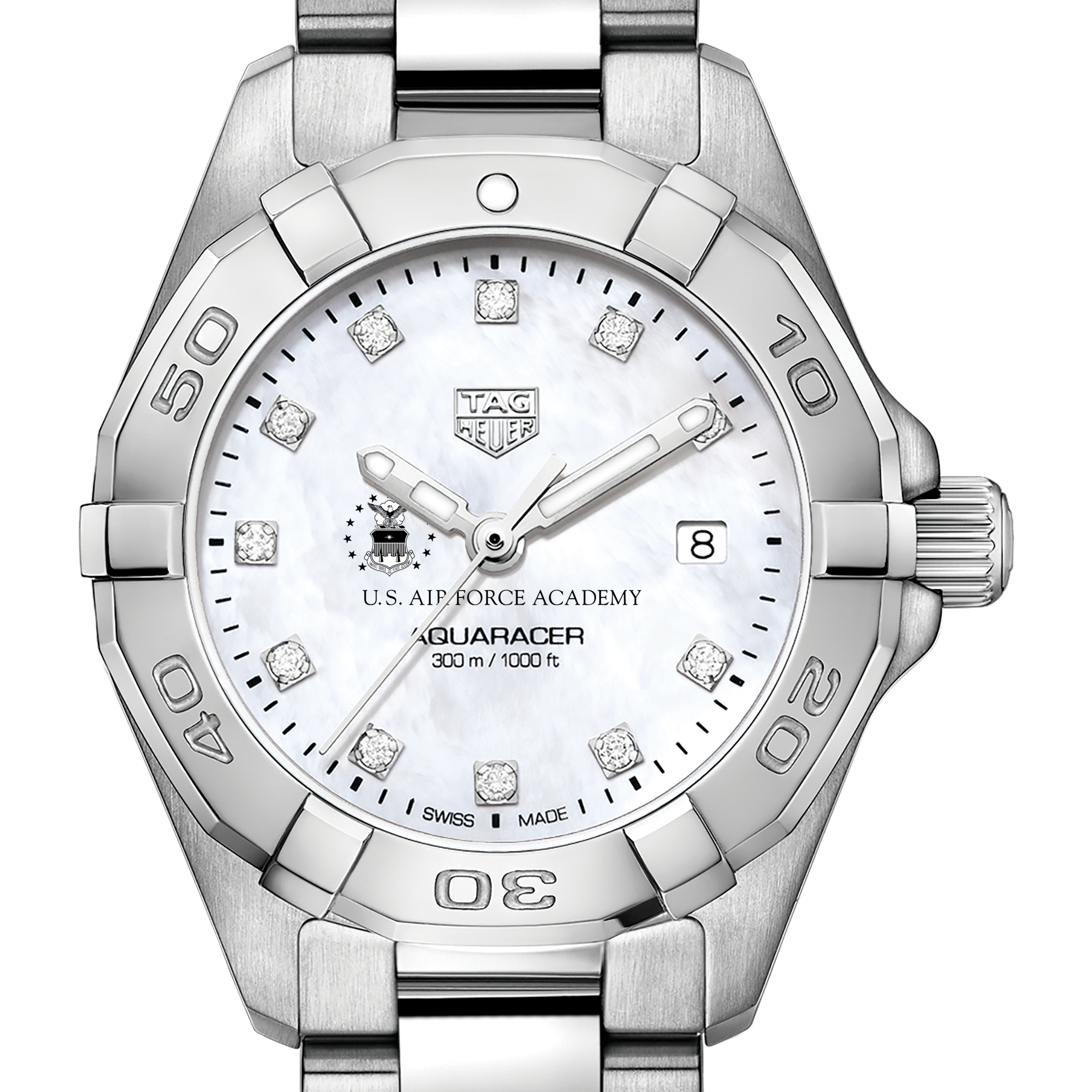Air Force Academy Women's TAG Heuer Steel Aquaracer with MOP Diamond Dial
