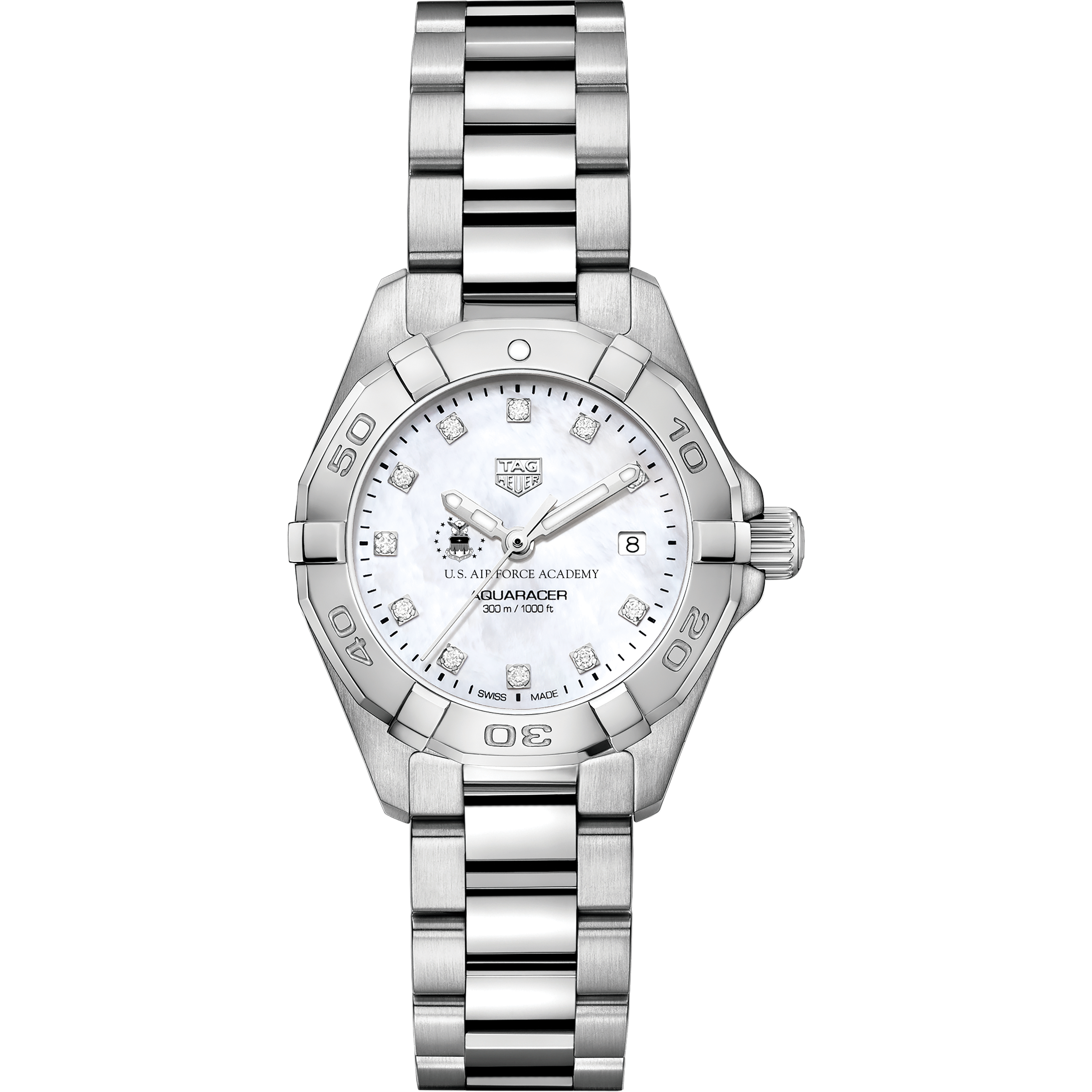 Air Force Academy Women's TAG Heuer Steel Aquaracer with MOP Diamond Dial - Image 2