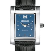 Michigan Women's Blue Quad Watch with Leather Strap