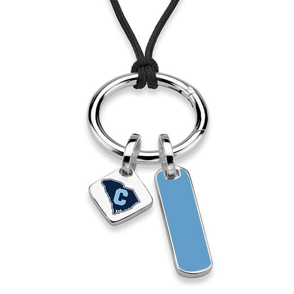 Citadel Silk Necklace with Enamel Charm & Sterling Silver Tag