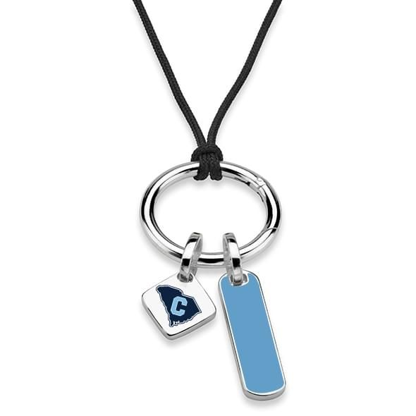 Citadel Silk Necklace with Enamel Charm & Sterling Silver Tag - Image 2