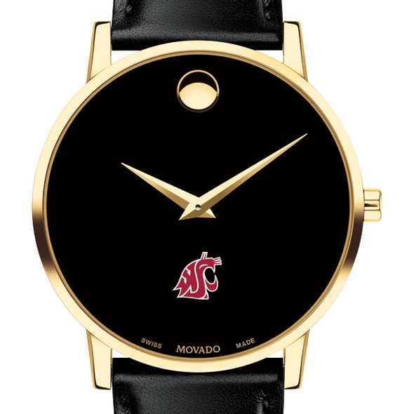 Washington State University Men's Movado Gold Museum Classic Leather