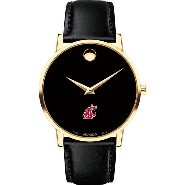 Washington State University Men's Movado Gold Museum Classic Leather - Image 2