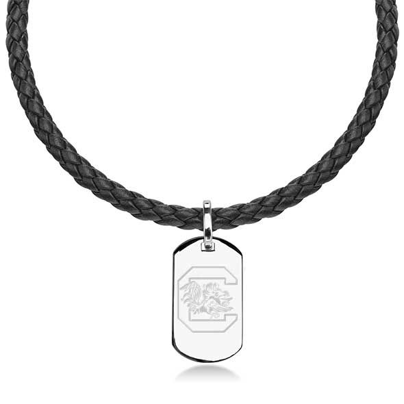 University of South Carolina Leather Necklace with Sterling Dog Tag