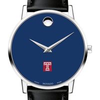 Temple University Men's Movado Museum with Blue Dial & Leather Strap