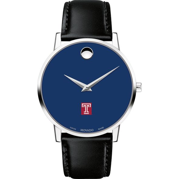 Temple University Men's Movado Museum with Blue Dial & Leather Strap - Image 2