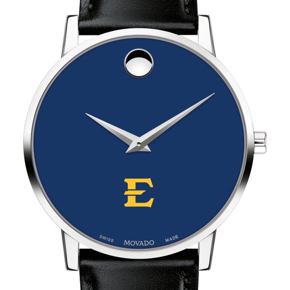 East Tennessee State University Men's Movado Museum with Blue Dial & Leather Strap
