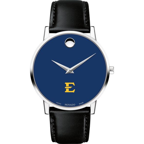 East Tennessee State University Men's Movado Museum with Blue Dial & Leather Strap - Image 2