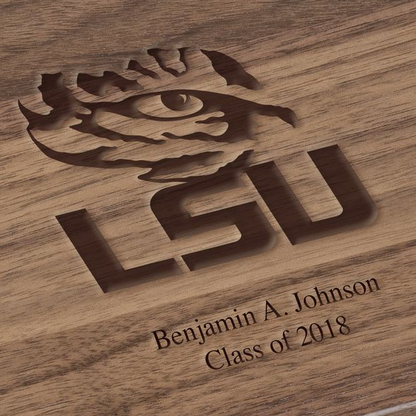 Louisiana State University Solid Walnut Desk Box - Image 3
