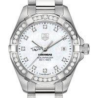 University of Arkansas W's TAG Heuer Steel Aquaracer with MOP Dia Dial & Bezel