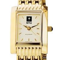 NYU Women's Gold Quad Watch with Bracelet