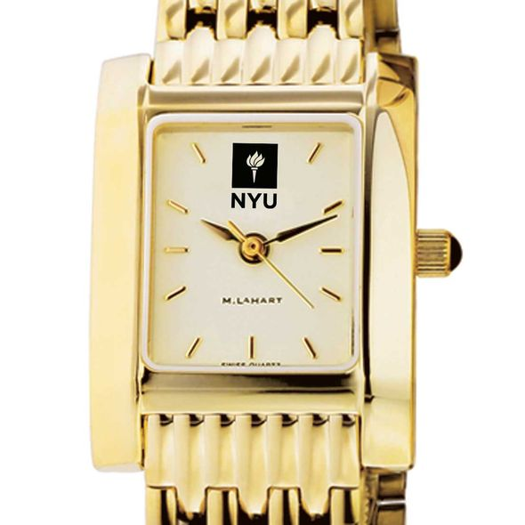 NYU Women's Gold Quad Watch with Bracelet