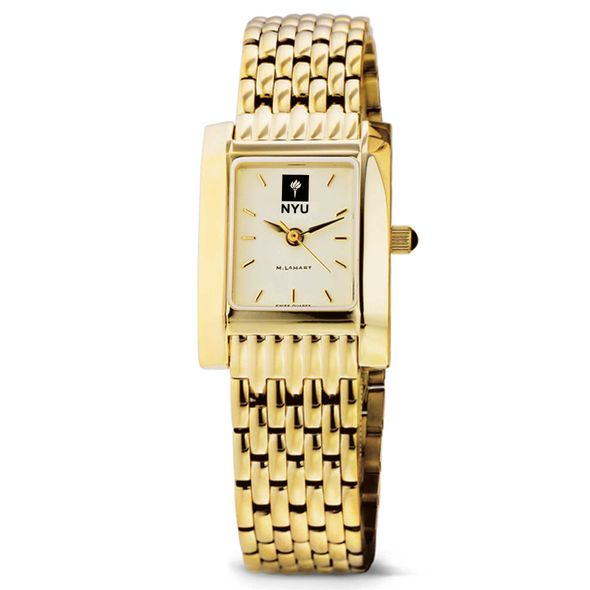 NYU Women's Gold Quad Watch with Bracelet - Image 2