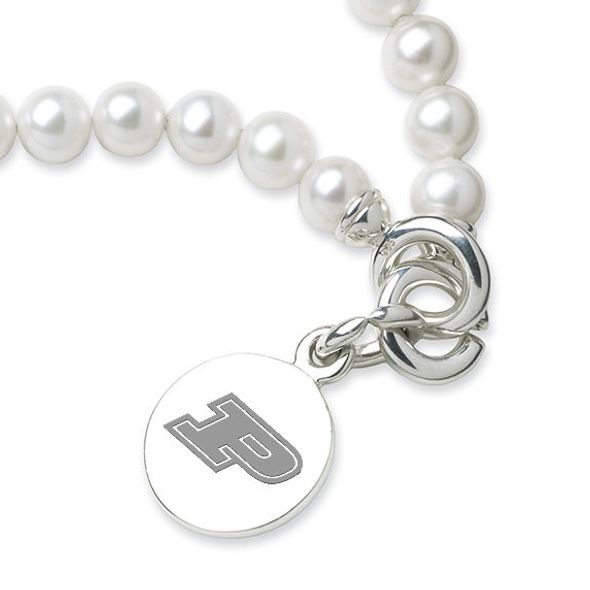 Purdue University Pearl Bracelet with Sterling Silver Charm - Image 2