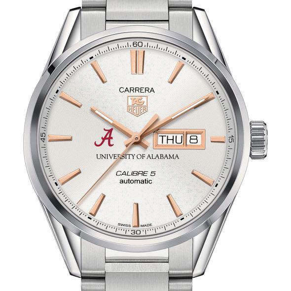 University of Alabama Men's TAG Heuer Day/Date Carrera with Silver Dial & Bracelet