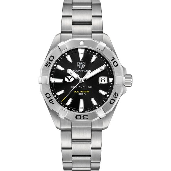 Brigham Young University Men's TAG Heuer Steel Aquaracer with Black Dial - Image 2