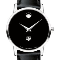 Texas A&M Women's Movado Museum with Leather Strap