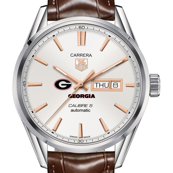 University of Georgia Men's TAG Heuer Day/Date Carrera with Silver Dial & Strap