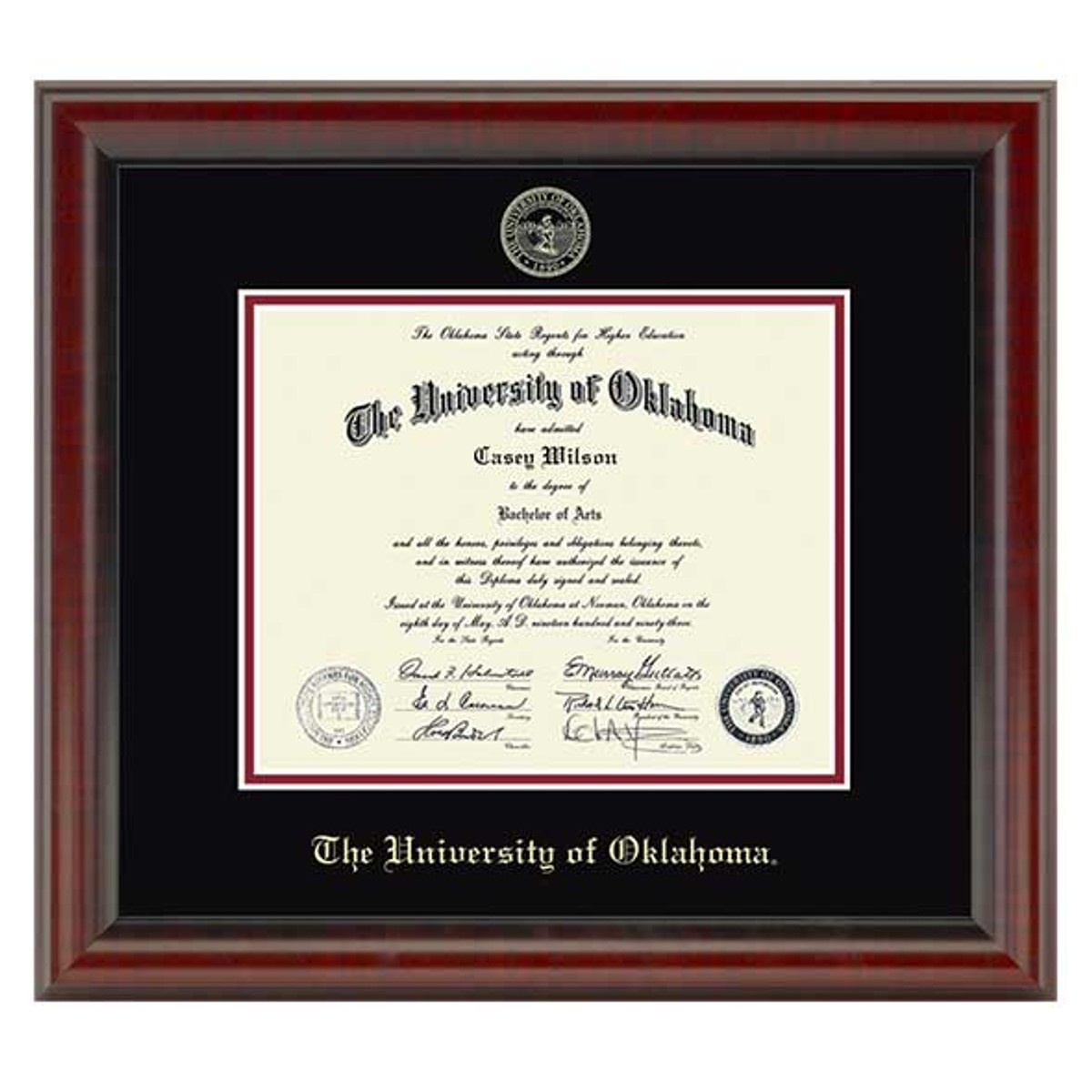 Official University Of Oklahoma Diploma Frame The