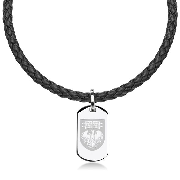 Chicago Leather Necklace with Sterling Dog Tag