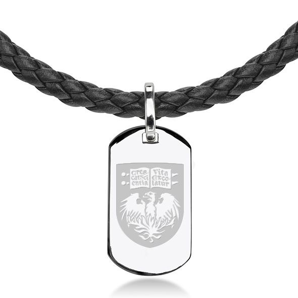Chicago Leather Necklace with Sterling Dog Tag - Image 2