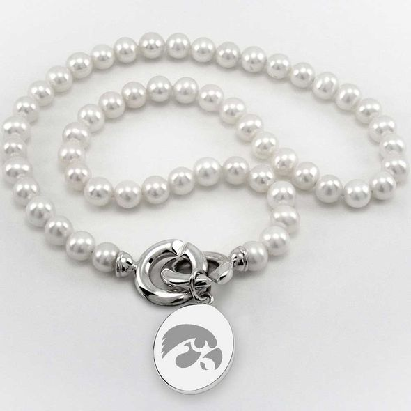 University of Iowa Pearl Necklace with Sterling Silver Charm