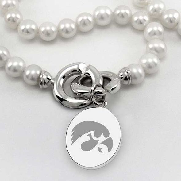 University of Iowa Pearl Necklace with Sterling Silver Charm - Image 2