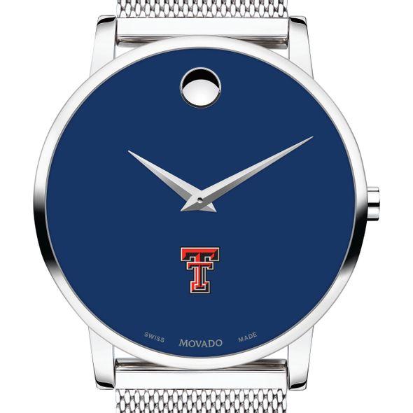 Texas Tech Men's Movado Museum with Blue Dial & Mesh Bracelet