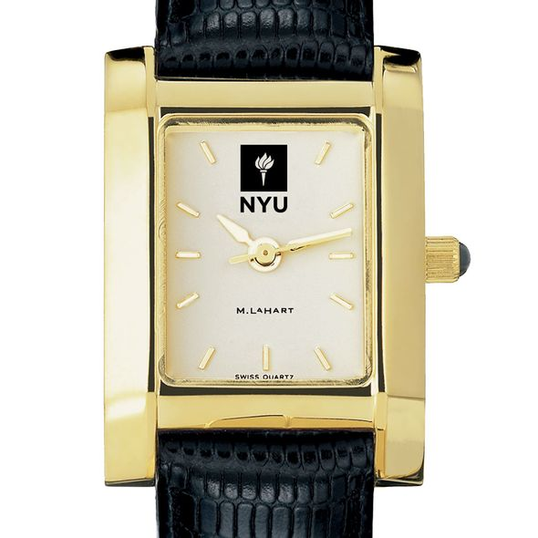 NYU Women's Gold Quad Watch with Leather Strap
