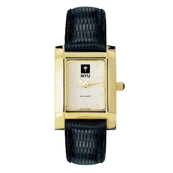NYU Women's Gold Quad Watch with Leather Strap - Image 2