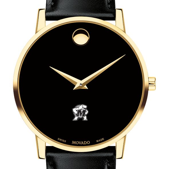 University of Maryland Men's Movado Gold Museum Classic Leather