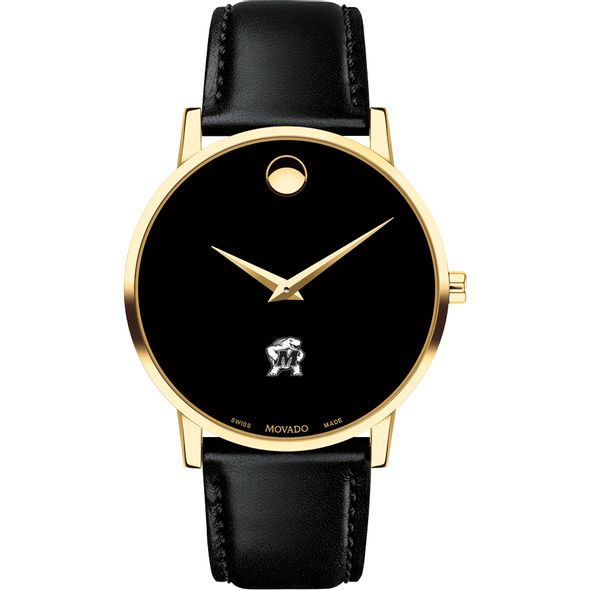 University of Maryland Men's Movado Gold Museum Classic Leather - Image 2