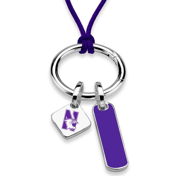 Northwestern University Silk Necklace with Enamel Charm & Sterling Silver Tag