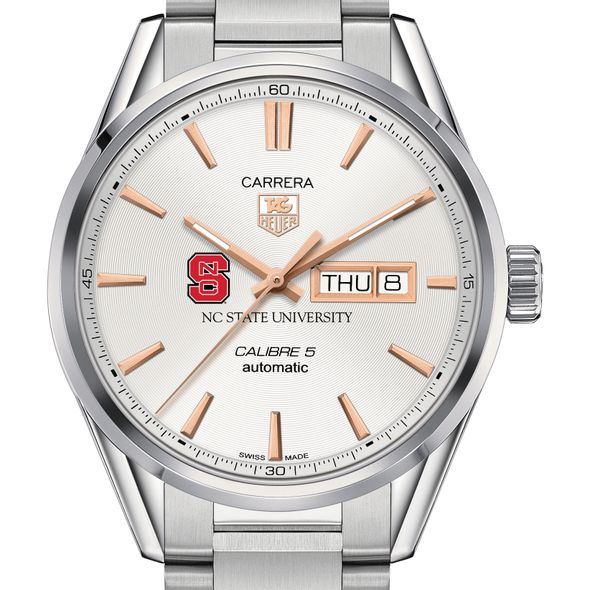 North Carolina State Men's TAG Heuer Day/Date Carrera with Silver Dial & Bracelet
