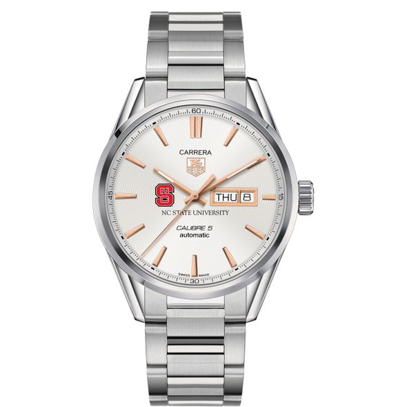 North Carolina State Men's TAG Heuer Day/Date Carrera with Silver Dial & Bracelet - Image 2