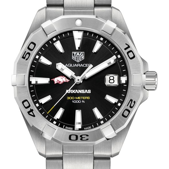 University of Arkansas Men's TAG Heuer Steel Aquaracer with Black Dial