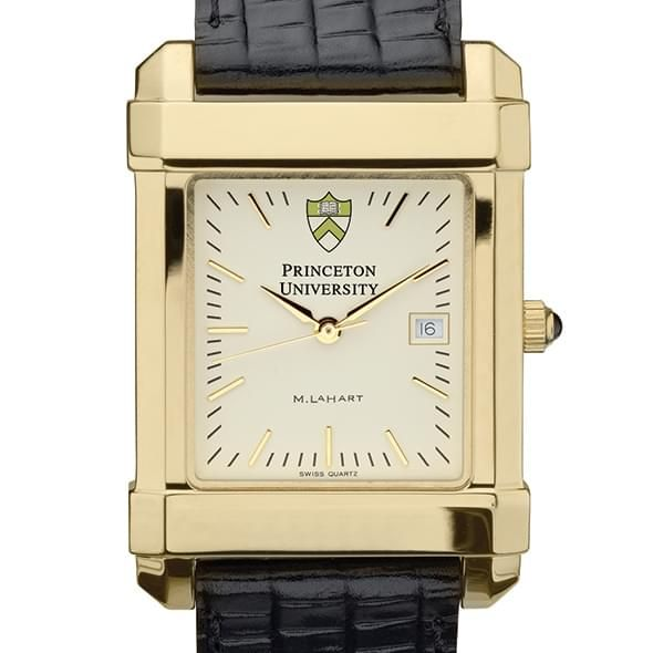 Princeton Men's Gold Quad Watch with Leather Strap